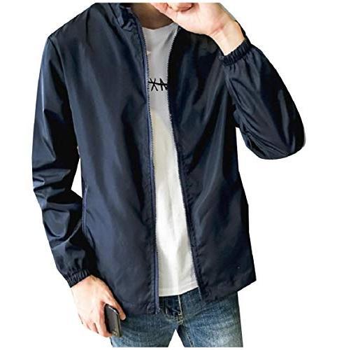 Abetteric Mens Big Tall Stand-up Collar Pockets Zip-up Rain