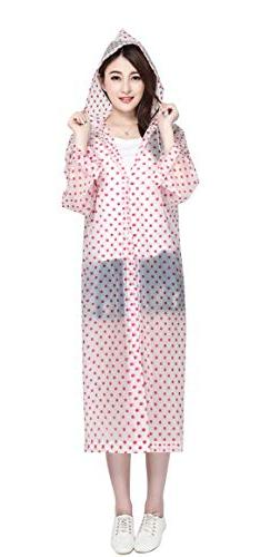 Aircee Cute dots Design Long Raincoat Women Reusable Rain Po