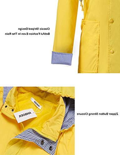 Anboer Lightweight Women's Waterproof Raincoat Yellow M
