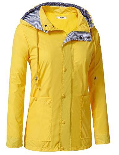 Anboer Lightweight Women's Raincoat Rain Jacket Yellow