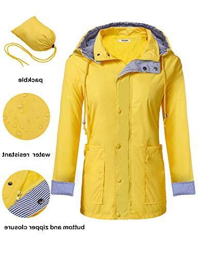 Anboer Lightweight Women's Waterproof Raincoat Hoodie Rain J