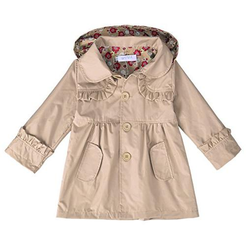 Arshiner Girl Kid Flower Waterproof Hooded Coat Jacket Outwe