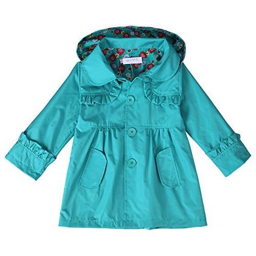 Arshiner Girl Kid Flower Waterproof Hooded Coat Jacket Outwe