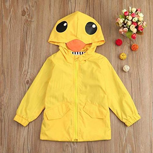 Auwer Unisex Raincoat Cute Hooded Zip Coat Clothes Oufits
