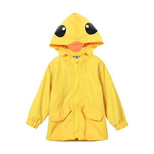Auwer Raincoat Cute Jacket Hooded Outwear Clothes School