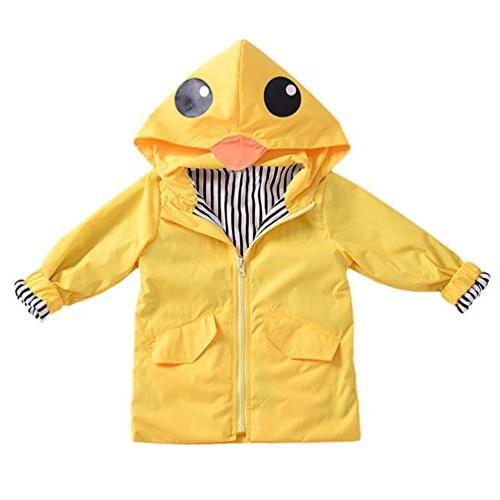 Auwer Unisex Kids Raincoat Cute Hooded up Coat Outwear Clothes School