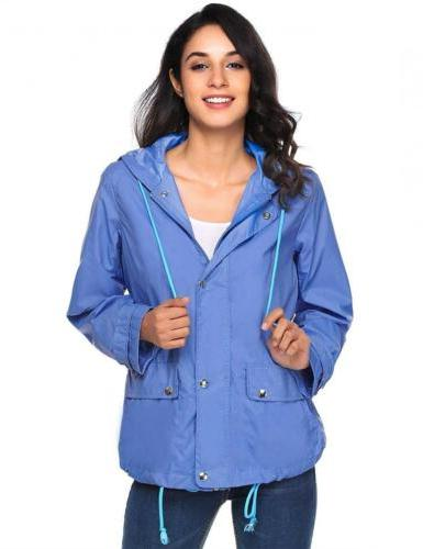 Beyove Women's Lightweight Raincoat Hooded Waterproof Active