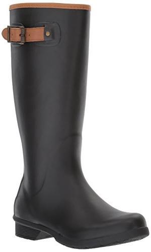 Chooka Women's Tall Memory Foam Rain Boot, Black, 8 M US