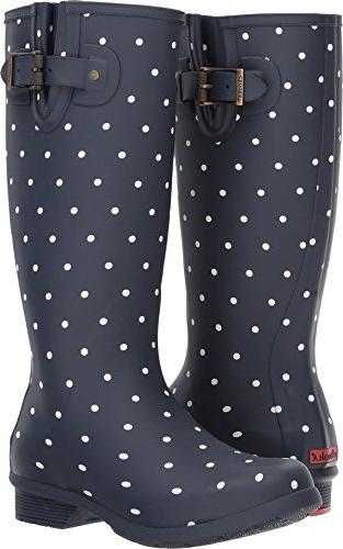 Chooka Women's Tall Memory Foam Rain Boot, Dot Blanc Navy, 9