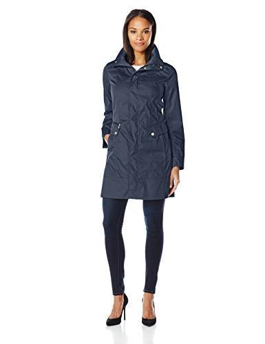 Cole Haan Women's Packable Anorak Raincoat, Navy, X-Small