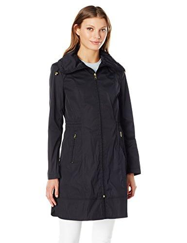 Cole Haan Women's Single Breasted Packable Rain Jacket, Blac