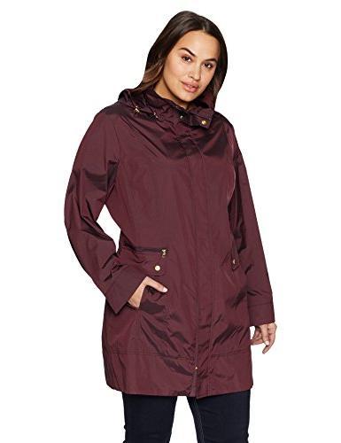 Cole Haan Women's Single Breasted Travel Packable Rain Jacke