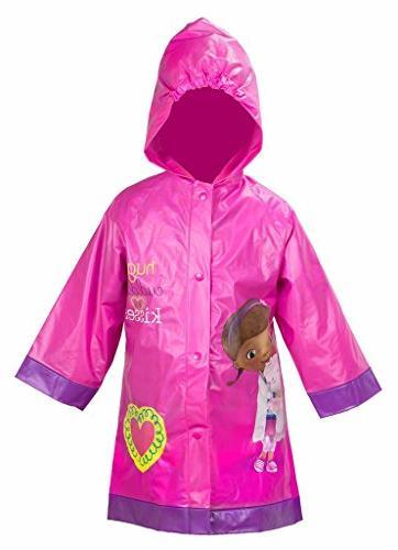 Doc McStuffins Girls Pink Rain Slicker Raincoat )