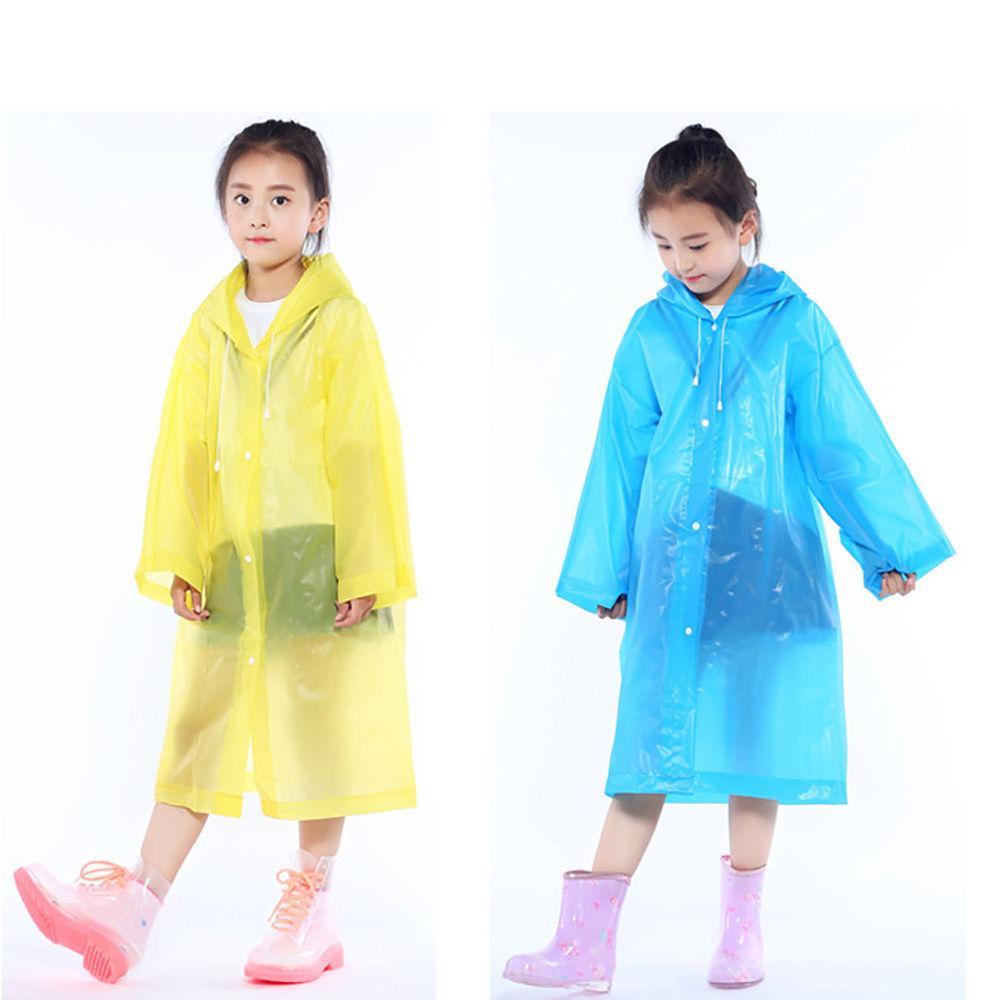 EP_ Kids children Waterproof Hooded Rain Coat Outwear Poncho