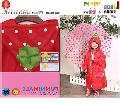 FAD Cartoon Baby Kids Toddler Boy Girl Hooded Rain Coat Raincoat FJ