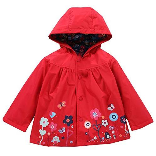 FEITONG Girls Clothes Jacket Kids Cute Flower Raincoat Coat