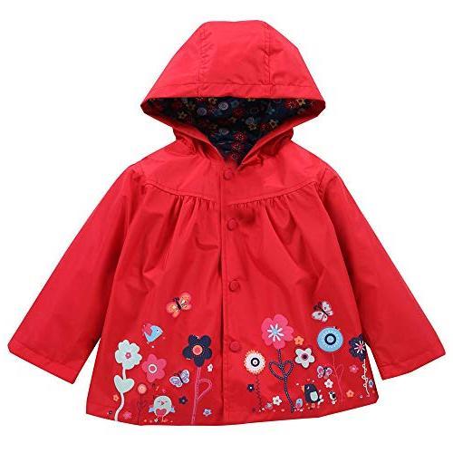 FEITONG Girls Clothes Jacket Kids Cute Flower Raincoat Coat