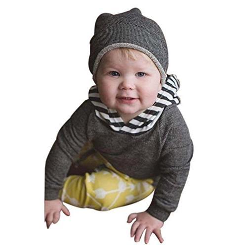 FEITONG Newborn Toddler Baby Boys Hoodies Coat+ Pants+ Hat