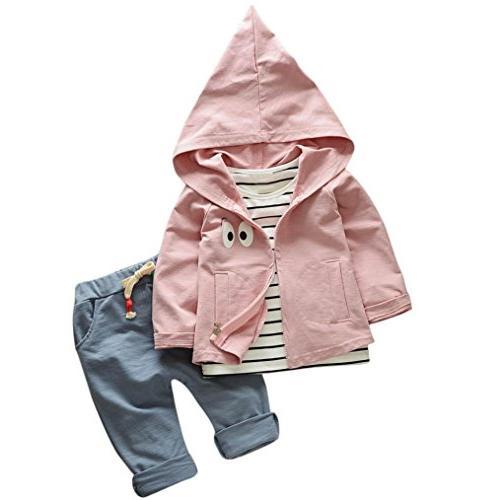 FEITONG Toddler Kid Baby Girls Boys 3 Pcs T-shirt+Hooded Coa