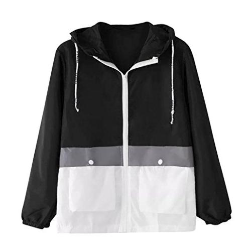 FEITONG Women Long Sleeve Patchwork Hit Color Hooded Zipper