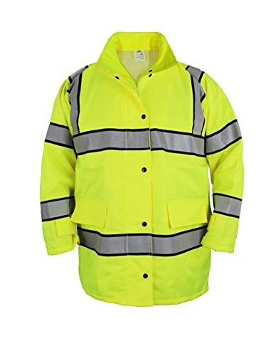 FIRST CLASS HIGH VISIBILITY RAINCOAT WITH REFLECTIVE STRIPES