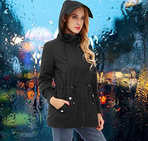 FISOUL Raincoats Lightweight Jacket Outdoor Hooded Trench