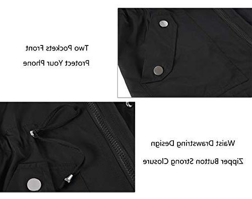 FISOUL Women's Waterproof Lightweight Rain Outdoor Hooded Trench Black M