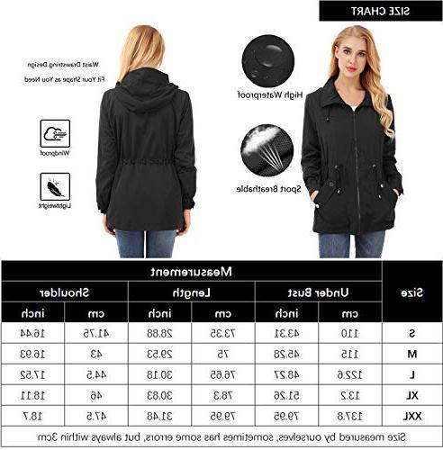 FISOUL Waterproof Lightweight Jacket Hooded Trench