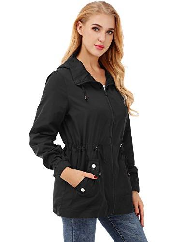 FISOUL Raincoats Lightweight Jacket Hooded Black M