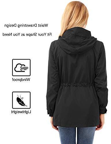 FISOUL Raincoats Lightweight Rain Jacket Hooded Black
