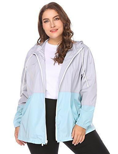 0942bec609b IN VOLAND Women s Plus Size Rain Jacket Anoraks Lightweight
