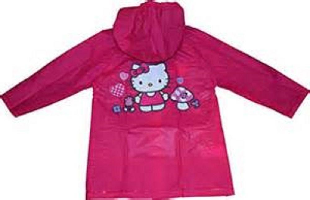 Kids Girl's Hello Kitty Pink Hooded Rain Coat Jacket Waterpr
