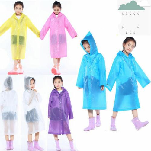 Kids Boys Girls Rain Coat Poncho Waterproof Emergency Rainco
