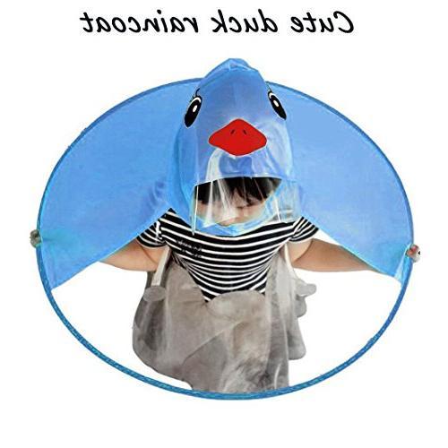 Kshion Kids Cute Rain Coat UFO Children Hooded Poncho Cloak