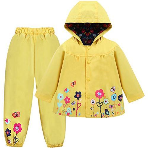 LZH Girl Baby Kid Waterproof Hooded Coat Jacket Outwear Suit