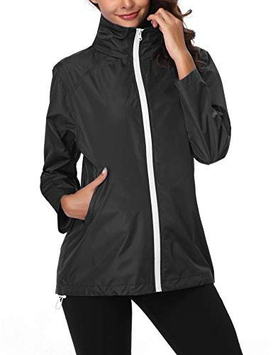 Lightweight Rain Jacket Women Waterproof Windbreaker Hooded