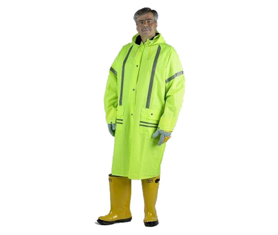 lime rain coat with reflective stripes 49