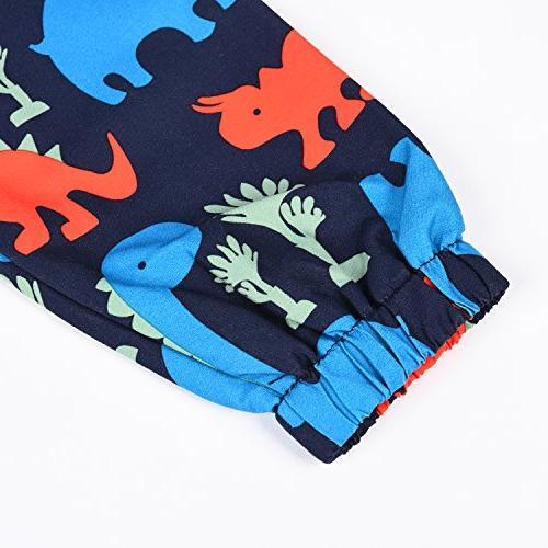 Little Hand Raincoat Weatherproof Hoodie Dinosaur Printed Girls Boys,Navy