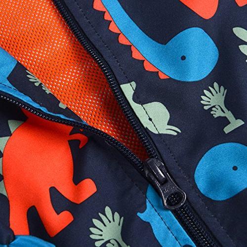 Little Weatherproof Jackets Hoodie Printed Toddler Girls Boys,Navy Blue,3T/4T