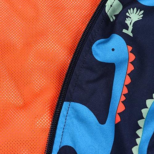 Little children Weatherproof Dinosaur Printed Coat Girls Blue,3T/4T