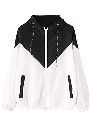 Milumia Women's Color Block Drawstring Hooded Zip up Sports