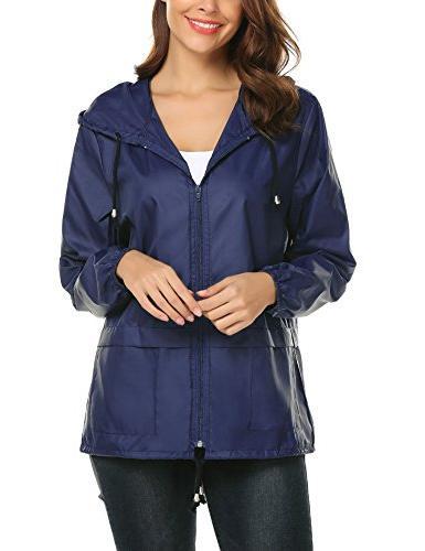 LOMON Lightweight Rain Jacket Outdoor Hooded Windbreaker Jacket L