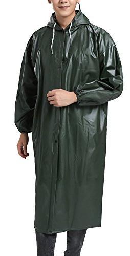 QZUnique Men's Hooded PVC Soft Raincoat Outdoor Waterproof W