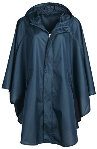 QZUnique Women's Waterproof Packable Rain Jacket Batwing-sle