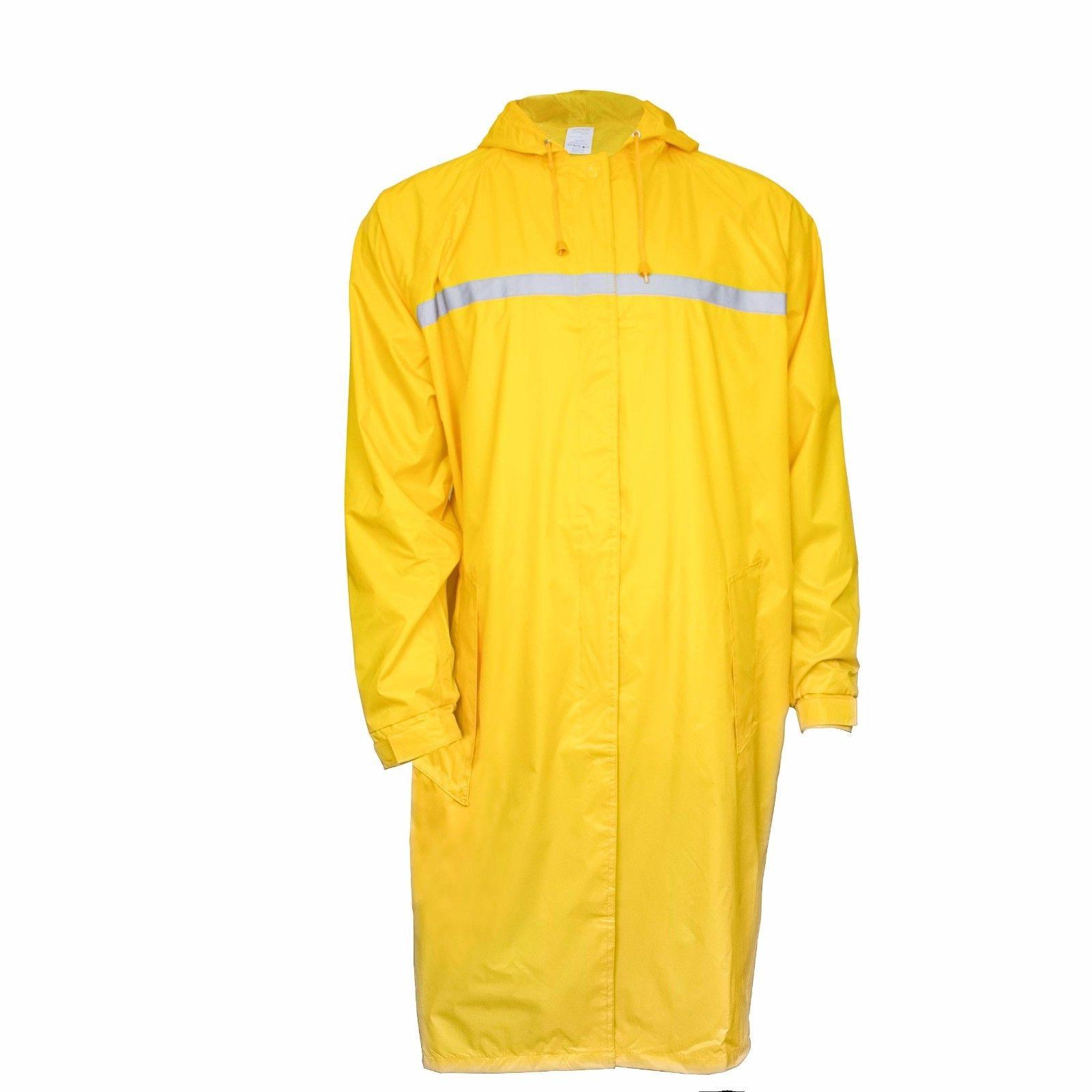 RK Rain Wear Men's Waterproof Long Raincoat Trench Coat, Yel