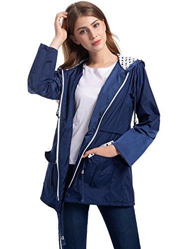 Romanstii Lined Rain Jacket Women Waterproof Breathable Wind