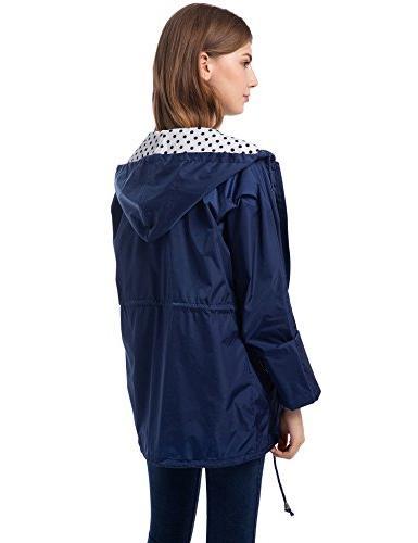 Romanstii Lined Rain Women Waterproof Breathable Windbreaker Rain Coats Navy