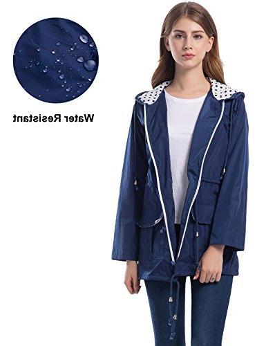 Romanstii Lined Rain Rain Coats for Navy Blue