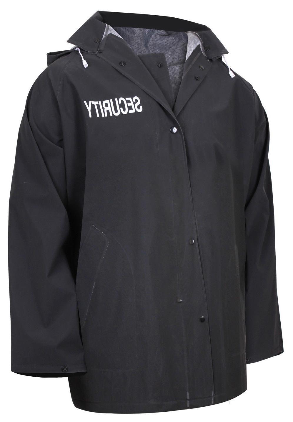 Security Officer Event Security Rain Jacket w/ Hood Black Se