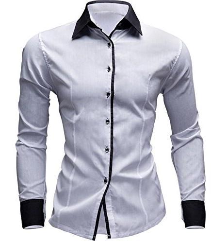 Slim Fit Men Long Sleeve Shirt Cotton Men Solid Color Casual
